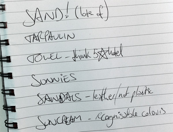 Canal beach shopping list